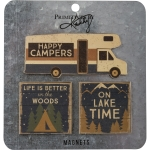Set of 3 Happy Campers Outdoor Themed Wooden Refrigerator Magnets from Primitives by Kathy