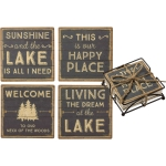 Set of 4 Lake House Themed This Is Our Happy Place Stoneware Drink Coasters 4x4 from Primitives by Kathy