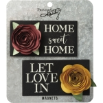 Set of 2 Wooden Refrigerator Magnets 4.25 Inch (Let Love In & Home Sweet Home) from Primitives by Kathy