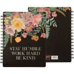 Floral Desing Stay Humble Work Hard Be Kind Double Sided Spiral Notebook (120 Pages) from Primitives by Kathy