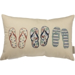 Flip Flops Design Decorative Cotton Throw Pillow 19x12 from Primitives by Kathy