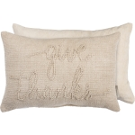 Knobby Beige Color Give Thanks Decorative Canvas & Cotton Throw Pillow 18x12 from Primitives by Kathy