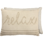 Relax Knobby Canvas Backed Decorative Cotton Throw Pillow 20x14 from Primitives by Kathy