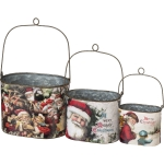 Set of 3 Nested Galvanized Metal Buckets Santa Merry Christmas from Primitives by Kathy