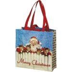 Santa & Reindeer Merry Christmas Double Sided Shopping Market Tote Bag from Primitives by Kathy
