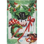 Vintage Inspired Snowman & Puppy Cotton Dish Towel 18x26 from Primitives by Kathy