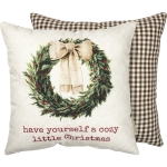 Double Sided Wreath Design Have Yourself A Cozy Little Christmas Cotton Throw Pillow 14x14 from Primitives by Kathy