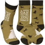 A Dog Can Change The Way You See The World Colorfully Printed Cotton Sock from Primitives by Kathy