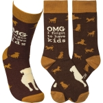 Dog Lover OMG I Forgot To Have Kids Colorfully Printed Cotton Socks from Primitives by Kathy