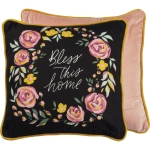 Floral Wreath Deisng Bless This Home Decorative Cotton Throw Pillow 16x16 from Primitives by Kathy
