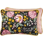Botanical Design Live In The Moment Decorative Cotton & Velvet Throw Pillow 20x14 from Primitives by Kathy