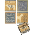 Set of 4 Farm & Country Themed Stoneware Drink Coasters from Primitives by Kathy