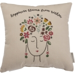 Happiness Blooms From Within Decorative Cotton Throw Pillow 14x14 from Primitives by Kathy