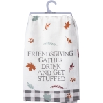Autumn Leaves Design Friendsgiving Gather Drink & Get Stuffed Cotton Dish Towel 28x28 from Primitives by Kathy