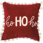 Red & White Holiday Themed Ho Ho Ho Decorative Velvet Throw Pillow 12x12 from Primitives by Kathy