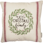 Evergreen Wreath Design The Joy Of Christmas Is Family Decorative Cotton Throw Pillow 16x16 from Primitives by Kathy