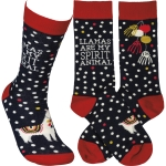 Llamas Are My Spirit Animal Colorfully Printed Cotton Socks from Primitives by Kathy