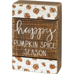 Debossed Pumpkins Design Happy Pumpkin Spice Season Wooden Slat Box Sign 4x6 from Primitives by Kathy