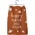 Pumpkin Print Design Happy Pumpkin Spice Season Cotton Dish Towel 28x28 from Primitives by Kathy