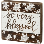 Brown & White Debossed Leaf Design So Very Blessed Decorative Wooden Slat Box Sign 8x8 from Primitives by Kathy