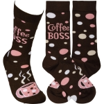 Coffee Boss Colorfully Printed Cotton Socks from Primitives by Kathy