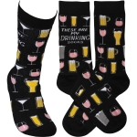 These Are My Drinking Socks Colorfully Printed Cotton Socks from Primitives by Kathy