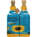 Bumblebee Design Bee Kind Bee Humble Bee Happy Wine Bottle Sock Holder from Primitives by Kathy