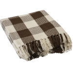 Brown & White Buffalo Check Woven Cotton Throw Blanket 50x60 from Primitives by Kathy