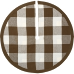 Brown & White Buffalo Check Design Round Cotton Christmas Tree Skirt 24 Inch from Primitives by Kathy