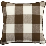 Brown & White Buffalo Check Decorative Cotton Throw Pillow 16x16 from Primitives by Kathy