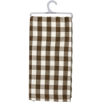 Brown & White Buffalo Checkered Design Cotton Dish Towel 20x28 from Primitives by Kathy