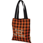 Orange & Black Checked Hallowwen It's All About The Candy Cotton Tote Bag from Primitives by Kathy