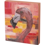 Colorful Flamingo Go Wild Decorative Wall Art Block Sign 6x7 from Primitives by Kathy