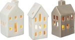 Set of 3 Stoneware House Shaped Candle Holders from Primitives by Kathy