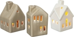 Set of 3 Small House Shaped Stoneware Candle Holders from Primitives by Kathy