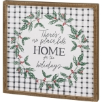 Holly Wreath Design There's No Place Like Home For The Holidays Decorative Inset Wooden Box Sin 20x20 from Primitives by Kathy