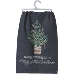 Decorated Evergreen Tree Have Yourself A Merry Little Christmas Cotton Dish Towel 28x28 from Primitives by Kathy