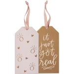 Set of 6 It Just Got Real Double Sided Wooden Wine Bottle Tags from Primitives by Kathy