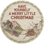 Vinatge Santa & Reindeer Have Yourself A Merry Little Christmas Bamboo Plate 11 Inch from Primitives by Kathy