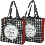 Double Sided Holly Wreath Design Home For The Holidays Market Tote Bag from Primitives by Kathy