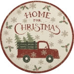 Truck & Christmas Tree Small Bamboo Plate 9 Inch Diameter from Primitives by Kathy