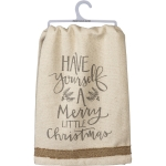 Holly Design & Burlap Trim Have Yourself A Merry Little Christmas Cotton Dish Towel 28x28 from Primitives by Kathy