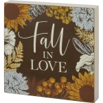 Autumn Floral Design Fall In Love Decorative Wooden Block Sign 6x6 from Primitives by Kathy