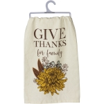 Autumnal Floral Design Give Thanks For Family Cotton Dish Towel 28x28 from Primitives by Kathy