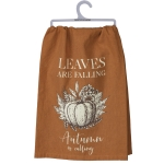 Autumnal Botanical Design Leaves Are Falling Autumn Is Calling Cotton Dish Towel 28x28 from Primitives by Kathy