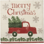 Pack of 20 Large Merry Christmas Truck & Tree Holly Snowflakes Paper Napkins 6.5 Inch from Primitives by Kathy