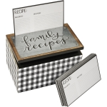 Hinged Black & White Checkered Family Recipes Wooden Recipe Box 6.25 Inch x 4 Inch from Primitives by Kathy