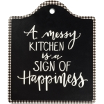 A Messy Kitchen Is A Sign Of Happiness Stoneware Trivet Tray from Primitives by Kathy