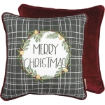 Evergreen Wreath Design Merry Christmas Cotton & Velvet Decorative Throw Pillow 16x16 from Primitives by Kathy