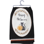 Black Cat & Pumpkin Happy Halloween Cotton Dish Towel 28x28 from Primitives by Kathy